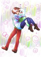 Asriel and Frisk by hopelessromantic721