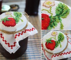 Strawberry Jam Jar Cover by cakecrumbs