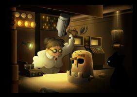 Working late by Bluthan