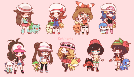 Chibi Pokemon Girls by Koki-arts