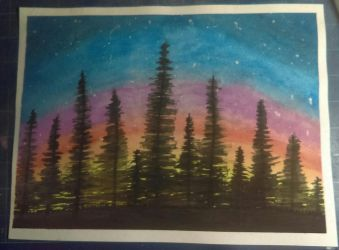 Watercolor Forest by PsyckoStinaMuffin
