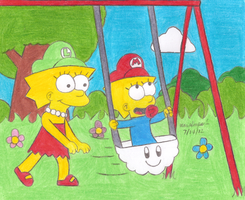 Maggie on the Swing by MarioSimpson1