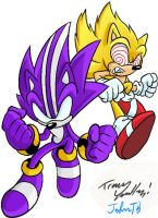 Darkspine and Fleetway Sonic by JohnTheBaratrian