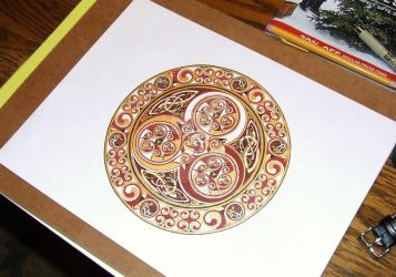 'Blood and Gold' Celtic mandala finished by one-rook