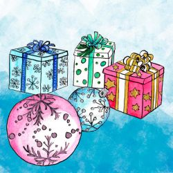 Presents And Christmas Balls Colour Clipart by GirlinDesign