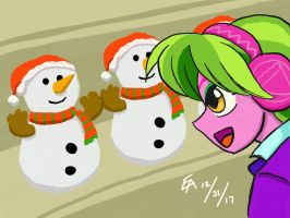 Lemon Zest and Toy Snowmen by mayorlight