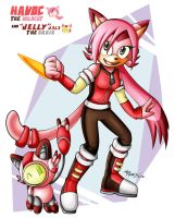 Havoc the Wildcat and Jelly the DroidCat 2016 by HavocGirl