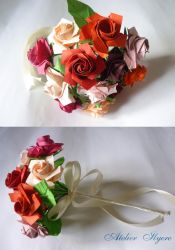 Red and pink Sato rose bouquet by Ilyere