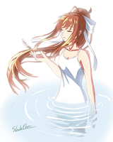 Monika And A Single Feather by Specialization
