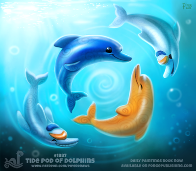 Daily Paint 1887# Tide Pod of Dolphins by Cryptid-Creations