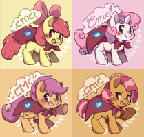 Cutie Mark Crusaders buttons by Mi-eau