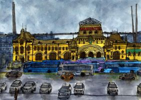 Vladivostok, Train Station Square by Vokabre