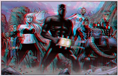 T Challa Art by Jim Cheung Anaglyph 3D by Fan2Relief3D