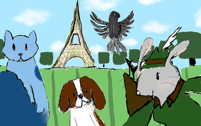 Group Photo at the Eiffel Tower by TheCourageousCat