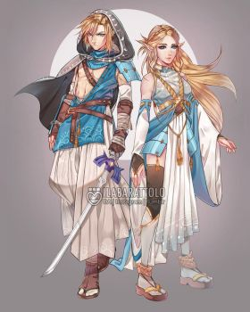Link/Zelda Redesign by ilaBarattolo