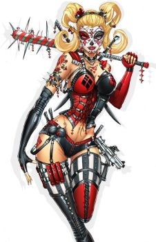 Harley Quinn DayOfTheDead, pencils: J. Tyndall by sinhalite