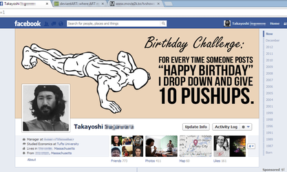 Birthday Pushup Challenge - Facebook Timeline by PunkBouncer