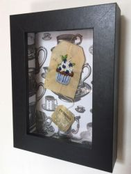 Blue Berry  Cup Cake Embroidered on a Tea Bag. by silverscape