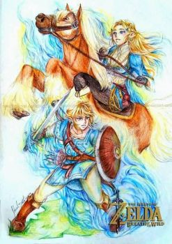 Link and Princess Zelda ~ Breath of the Wild by RossiniCrezyel