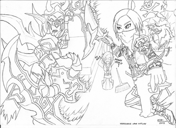 Vengeance upon Outlaw [LINEART] by Siavaa