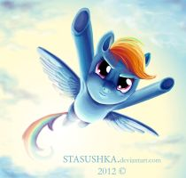 Rainbow Dash_ rushing from the sky by Stasushka