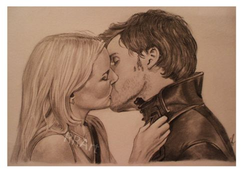 The Kiss - Emma Swan and Captain Hook by RoseRedArt