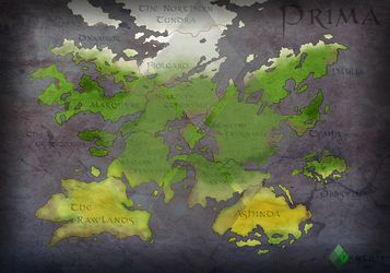 Afterlife: Map of Prima (The Golden Age) -Weather by Kyle-A-McDonald