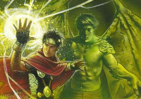 Wiccan and Hulking Sketch Card by JeffLafferty
