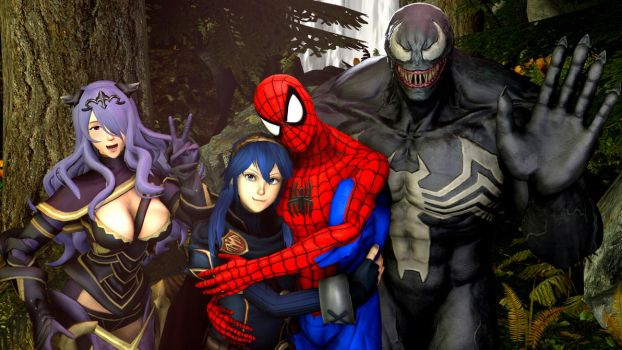 Camilla , Lucina , Spider-Man and Venom greeting by kongzillarex619