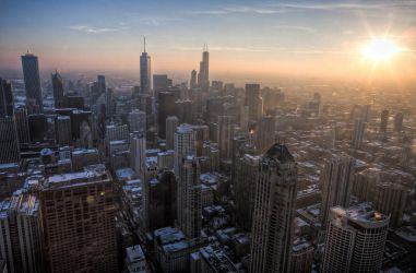 Hancock Observatory Chicago - approaching sunset by delobbo
