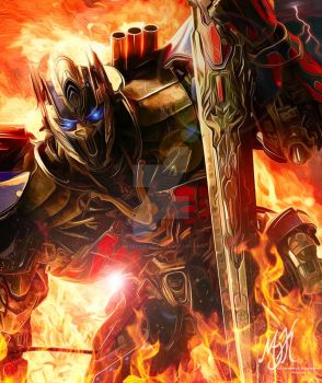 TF AOE Optimus Prime: Into the Fire by MessyArtwok