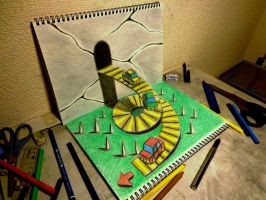 3D Drawing - Car race by NAGAIHIDEYUKI