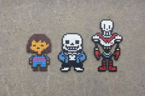 Frisk/Sans/Papyrus - Undertale Perler Bead Sprites by MaddogsCreations