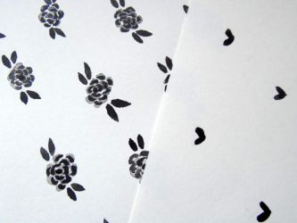 Patterns in Ink - Flowers and Hearts by LizzVisions