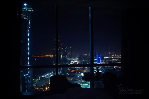 Night view of Abu Dhabi by amirajuli