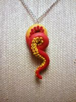 Red Tentacle Pendant With Yellow Suction Cups 2 by KrakenFashion