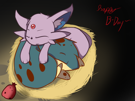 Quilava and Espeon by ConmanWolf
