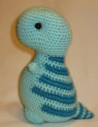T-rex amigurmi - mint green with turquoise stripes by s0nicfreak