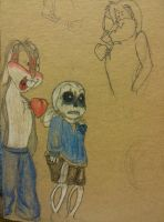 Bruce bunny and Sans dumbstruck by Bugssayian27