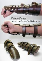 Buckling Brown Carapace Demi Gauntlet by swanboy
