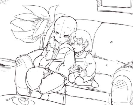 Sleepy Sans and Frisk SKETCH by CreatorOfCastell