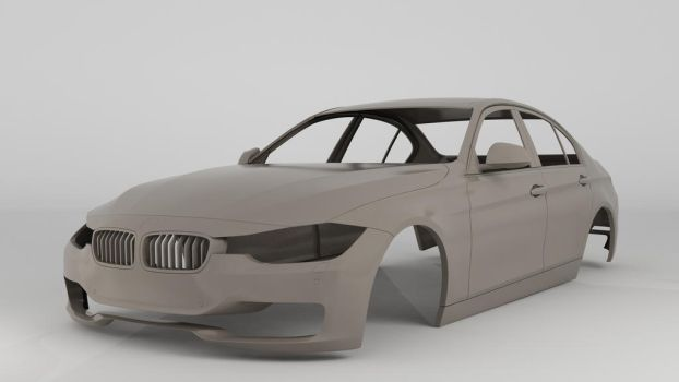 BMW 335i 2012 Clay Render by 3Dstate