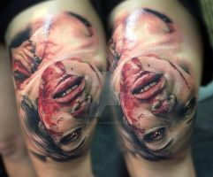 Bloody horror portrait tattoo by SelfmadeTattooBerlin