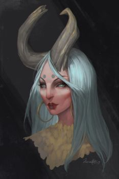 Portrait with horns by Junica-Hots