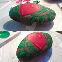 Heart Leaf - Painted Rock by Batnamz