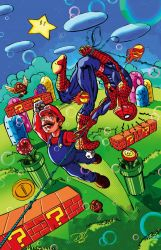 Spiderman / Mario Bros by Grandoc