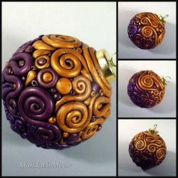 Purple and Gold Filigree Ornament by MandarinMoon