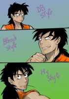 Same person,diff.styles-Yamcha by Michsi