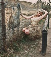 MODEL WITH HYENA by africanimages