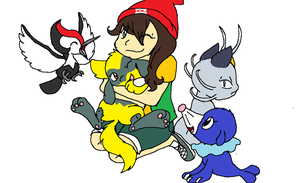 Kaya and Her Pokemon by XfangheartX